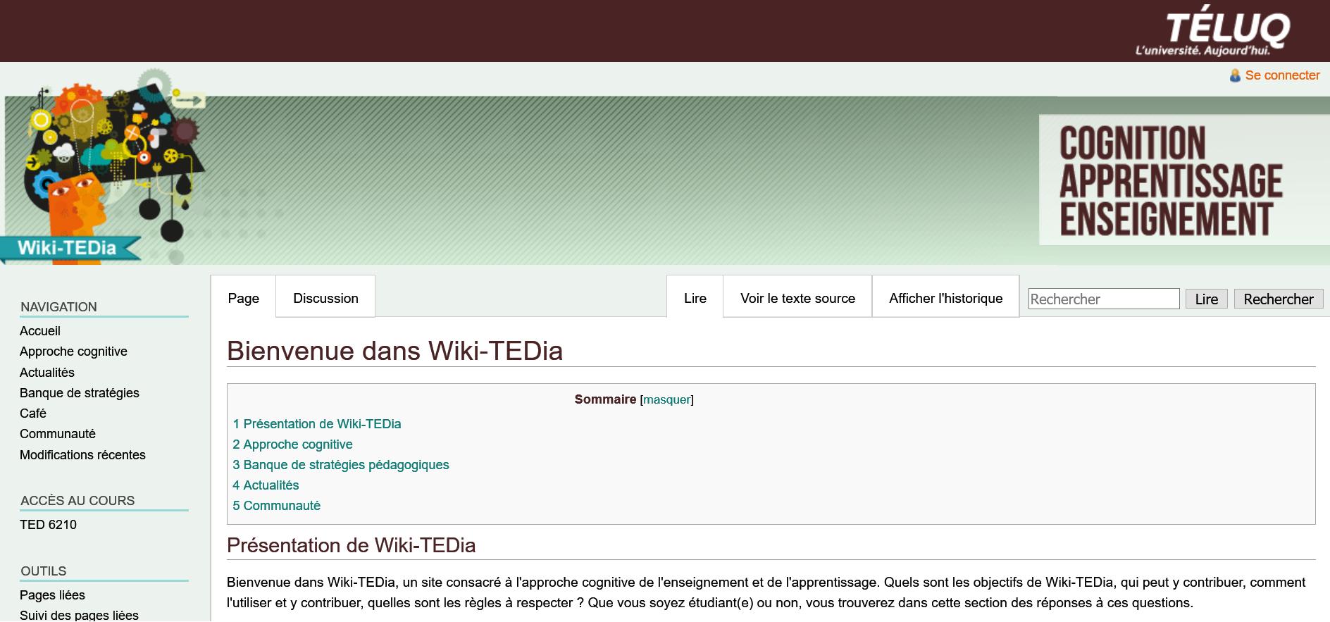 Page d'accueil du site Wiki-TEDia