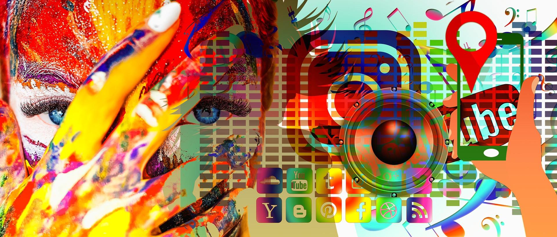 Image collage de plusieurs éléments : un objectif d'appareil photo, un visage, des logos de réseaux sociaux.